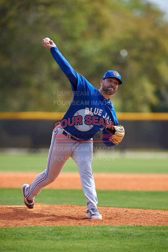 Toronto Blue Jays pitcher Alex Nolan (53) during an exhibition game against the Canada Junior National Team on March 8, 2020 at Baseball City in St. Petersburg, Florida.  (Mike Janes/Four Seam Images)