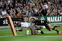27th March 2021; Hamilton, New Zealand;  Damian McKenzie saves a Mark Telea try. Chiefs versus Blues, Super Rugby  AOTEAROA, FMG Waikato Stadium, Hamilton, New Zealand.