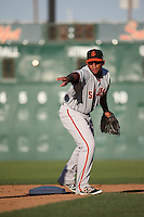 Miguel Gomez (51) of the San Jose Giants makes a throw during a game against the Lancaster JetHawks at The Hanger on August 13, 2016 in Lancaster, California. Lancaster defeated San Jose, 16-2. (Larry Goren/Four Seam Images)
