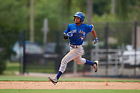 GCL Blue Jays designated hitter Steward Berroa (1) runs the bases during a game against the GCL Phillies East on August 10, 2018 at Carpenter Complex in Clearwater, Florida.  GCL Blue Jays defeated GCL Phillies East 8-3.  (Mike Janes/Four Seam Images)