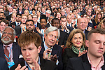 © Joel Goodman - 07973 332324 . 05/10/2016 . Birmingham , UK . The crowd applauds as Theresa May delivers the leader's speech at the close of the conference . The fourth and final day of the Conservative Party Conference at the International Convention Centre in Birmingham . Photo credit : Joel Goodman