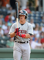 Outfielder Josh Richmond (6) of the Hickory Crawdads, Class A affiliate of the Texas Rangers, in a game against the Greenville Drive on July 1, 2011, at Fluor Field at the West End in Greenville, South Carolina. (Tom Priddy/Four Seam Images)