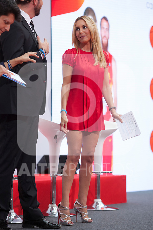 TV presenter Berta Collado during the official presentation of Spain´s basketball team for the 2014 Spain Basketball Championship in Madrid, Spain. July 24, 2014. (ALTERPHOTOS/Victor Blanco)