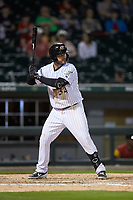 D.J. Peterson (34) of the Charlotte Knights at bat against the Toledo Mud Hens at BB&T BallPark on April 23, 2019 in Charlotte, North Carolina. The Knights defeated the Mud Hens 11-9 in 10 innings. (Brian Westerholt/Four Seam Images)