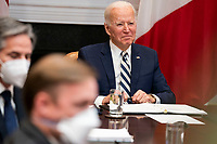 United States President Joe Biden listers during a virtual bilateral meeting with President Andrés Manuel López Obrador of Mexico in the Roosevelt Room of the White House in Washington on March 1st, 2021. <br /> Credit: Anna Moneymaker / Pool via CNP /MediaPunch