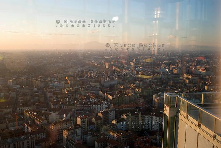 milano, panorama dal grattacielo nuova sede della regione lombardia --- milan, panorama from the new skyscraper headquarter of Lombardy Region authority