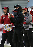 Arkansas offensive coordinator Kendal Briles looks on, Saturday, October 17, 2020 during the fourth quarter of a football game at Donald W. Reynolds Razorback Stadium in Fayetteville. Check out nwaonline.com/201018Daily/ for today's photo gallery. <br /> (NWA Democrat-Gazette/Charlie Kaijo)