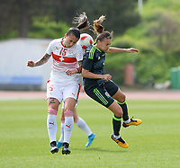 20180305 - LARNACA , CYPRUS : Swiss Francesca Calo (left) pictured in a duel with Welsh Kayleigh Green (r) during a women's soccer game between Switzerland and Wales , on monday 5 March 2018 at GSZ Stadium in Larnaca , Cyprus . This is the third game in group A for Switzerland and Wales during the Cyprus Womens Cup , a prestigious women soccer tournament as a preparation on the World Cup 2019 qualification duels. PHOTO SPORTPIX.BE | DAVID CATRY
