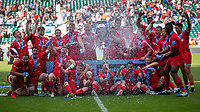 Saracens celebrate winning the Gallagher Premership<br /> <br /> Photographer Bob Bradford/CameraSport<br /> <br /> Gallagher Premiership Final - Exeter Chiefs v Saracens - Saturday 1st June  2018 - Twickenham Stadium - London<br /> <br /> World Copyright © 2019 CameraSport. All rights reserved. 43 Linden Ave. Countesthorpe. Leicester. England. LE8 5PG - Tel: +44 (0) 116 277 4147 - admin@camerasport.com - www.camerasport.com