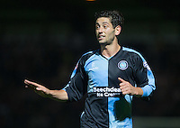 Joe Jacobson of Wycombe Wanderers during the Capital One Cup match between Wycombe Wanderers and Fulham at Adams Park, High Wycombe, England on 11 August 2015. Photo by Andy Rowland.