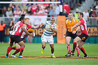 20120803 Copyright onEdition 2012©.Free for editorial use image, please credit: onEdition..Jonathan Joseph of London Irish finds a gap in midfield against London Welsh 7s at The Recreation Ground, Bath in the Final round of The J.P. Morgan Asset Management Premiership Rugby 7s Series...The J.P. Morgan Asset Management Premiership Rugby 7s Series kicked off again for the third season on Friday 13th July at The Stoop, Twickenham with Pool B being played at Edgeley Park, Stockport on Friday, 20th July, Pool C at Kingsholm Gloucester on Thursday, 26th July and the Final being played at The Recreation Ground, Bath on Friday 3rd August. The innovative tournament, which involves all 12 Premiership Rugby clubs, offers a fantastic platform for some of the country's finest young athletes to be exposed to the excitement, pressures and skills required to compete at an elite level...The 12 Premiership Rugby clubs are divided into three groups for the tournament, with the winner and runner up of each regional event going through to the Final. There are six games each evening, with each match consisting of two 7 minute halves with a 2 minute break at half time...For additional images please go to: http://www.w-w-i.com/jp_morgan_premiership_sevens/..For press contacts contact: Beth Begg at brandRapport on D: +44 (0)20 7932 5813 M: +44 (0)7900 88231 E: BBegg@brand-rapport.com..If you require a higher resolution image or you have any other onEdition photographic enquiries, please contact onEdition on 0845 900 2 900 or email info@onEdition.com.This image is copyright the onEdition 2012©..This image has been supplied by onEdition and must be credited onEdition. The author is asserting his full Moral rights in relation to the publication of this image. Rights for onward transmission of any image or file is not granted or implied. Changing or deleting Copyright information is illegal as specified in the Copyright, Design and Patents Act 1988. If you are in any way unsure of your right to