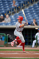 Clearwater Threshers right fielder Simon Muzziotti (12) during a Florida State League game against the Dunedin Blue Jays on April 4, 2019 at Spectrum Field in Clearwater, Florida.  Dunedin defeated Clearwater 11-1.  (Mike Janes/Four Seam Images)