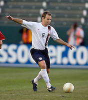 Bryan Namoff kicks the ball upfield. The USA defeated Denmark 3-1 in an International friendly at the Home Depot Center in Carson, CA on January 20, 2007.