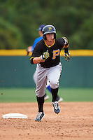 Pittsburgh Pirates Kevin Newman (23) during a minor league Spring Training game against the Toronto Blue Jays on March 24, 2016 at Pirate City in Bradenton, Florida.  (Mike Janes/Four Seam Images)