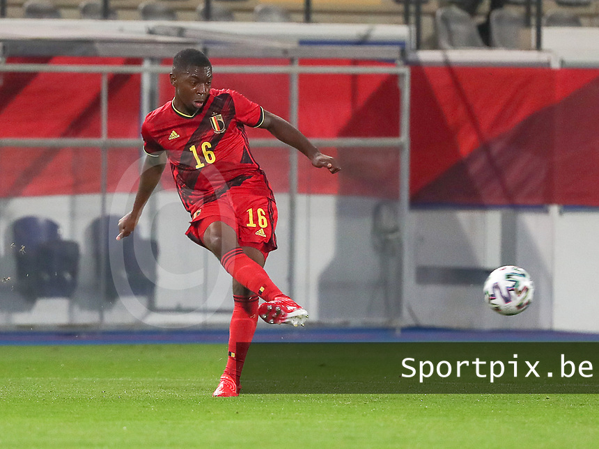Marco Kana (16) of Belgium  in action during a soccer game between the national teams Under21 Youth teams of Belgium and Kazakhstan on the third matday in group I for the qualification for the Under 21 EURO 2023 , on friday 8 th of october 2021  in Leuven , Belgium . PHOTO SPORTPIX | SEVIL OKTEM
