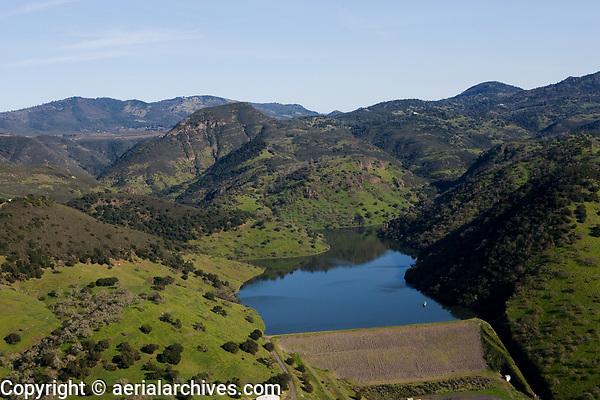 aerial photograph of the Conn Creek Dam, Lake Hennessey, Napa County, California