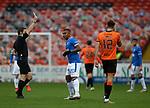13.12.2020 Dundee Utd v Rangers: Alfredo Morelos booked by referee Steven McLean