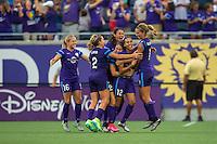 Orlando, FL - Sunday July 10, 2016: Kristen Edmonds celebrates scoring during a regular season National Women's Soccer League (NWSL) match between the Orlando Pride and the Boston Breakers at Camping World Stadium.