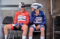 Fabio Jakobsen (NED/Deceuninck Quick Step), Remco Evenepoel (BEL/Deceuninck Quick Step) awaiting their turn to start their ITT. <br /> <br /> Baloise Belgium Tour 2019<br /> Stage 3: ITT Grimbergen – Grimbergen 9.2km<br /> ©kramon