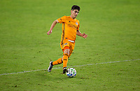 CARSON, CA - OCTOBER 28: Víctor Cabrera #36 of the Houston Dynamo with a head ball during a game between Houston Dynamo and Los Angeles FC at Banc of California Stadium on October 28, 2020 in Carson, California.