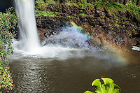 A close-up of a rainbow at the base of Rainbow Falls waterfall, Hilo, Big Island.