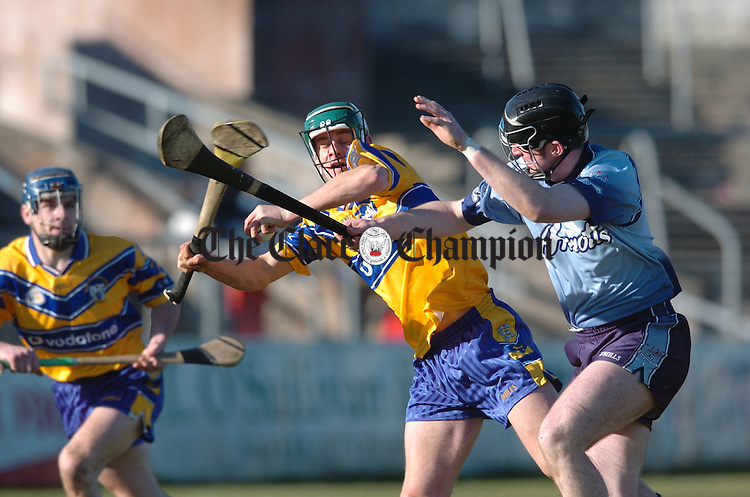 Brian O Connell of Clare and  Manghus Breathnach of Dublin meet during the national league game in Ennis. Photograph by John Kelly.