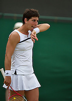 01-07-13, England, London,  AELTC, Wimbledon, Tennis, Wimbledon 2013, Day seven, Carla Suarez Navarro (ESP)<br /> <br /> <br /> <br /> Photo: Henk Koster