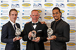 John Hughes manager of the year flanked by Stefan Johansen player of the year and Jason Denayer young player