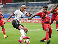 Germany's Lukas Nmecha (10) and Hannes Delcroix (19) in action during a soccer game between the national teams Under21 Youth teams of Belgium and Germany on the 5th matday in group 9 for the qualification for the Under 21 EURO 2021 , on tuesday 8 th of September 2020  in Leuven , Belgium . PHOTO SPORTPIX.BE   SPP   SEVIL OKTEM
