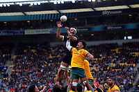NZ's Patrick Tuipulotu beats Australia's Pete Samu to lineout ball during the Bledisloe Cup rugby union match between the New Zealand All Blacks and Australia Wallabies at Sky Stadium in Wellington, New Zealand on Sunday, 11 October 2020. Photo: Dave Lintott / lintottphoto.co.nz