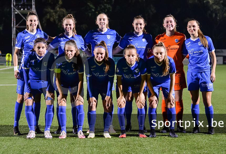 goalkeeper Aukje Van Seijst (1) of KRC Genk, Lorene Martin (6) of KRC Genk, Lisa Petry (9) of KRC Genk, Sien Vandersanden (10) of KRC Genk, Janne Geers (11) of KRC Genk, Gwen Duijsters (13) of KRC Genk, Sterre Gielen (14) of KRC Genk, Kelsey Geraedts (17) of KRC Genk, Gwyneth Vanaenrode (18) of KRC Genk, Luna Vanhoudt (43) of KRC Genk and Fleur Pauwels (66) of KRC Genk pictured during a female soccer game between  Racing Genk Ladies and AA Gent Ladies ,  on the 6 th  matchday of the 2021-2022 season of the Belgian Scooore Womens Super League , friday 8 october 2021  in Genk , Belgium . PHOTO SPORTPIX | JILL DELSAUX