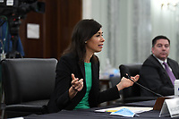 Jessica Rosenworcel, Commissioner, Federal Communications Commission (FCC) answers questions during a United States Senate Committee on Commerce, Science, and Transportation oversight hearing to examine the Federal Communications Commission in Washington, DC on June 24, 2020. <br /> Credit: Jonathan Newton / Pool via CNP/AdMedia