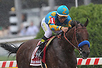 May 16, 2015: American Pharoah, Victor Espinoza up, wins the 140th running of the Preakness Stakes at Pimlico Race Course in Baltimore, MD. Trainer is Bob Baffert; owner is Zayat Stable. Joan Fairman Kanes/ESW/CSM