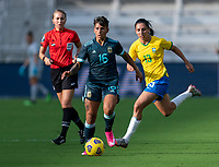 ORLANDO, FL - FEBRUARY 18: Lorena Benitez #16 of Argentina dribbles during a game between Argentina and Brazil at Exploria Stadium on February 18, 2021 in Orlando, Florida.