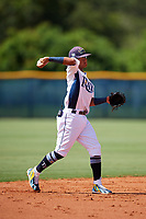 GCL Rays shortstop Jelfry Marte (5) throws to first base during a game against the GCL Twins on August 9, 2018 at Charlotte Sports Park in Port Charlotte, Florida.  GCL Twins defeated GCL Rays 5-2.  (Mike Janes/Four Seam Images)