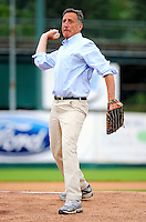 3 July 2011: Vermont Governor Peter Shumlin winds up to throw out the ceremonial first pitch prior to a game between the Vermont Lake Monsters and the Tri-City ValleyCats at Centennial Field in Burlington, Vermont. The Lake Monsters rallied from a 6-3 deficit, scoring 4 runs in the bottom of the 9th, to defeat the ValletCats 7-6 in NY Penn League action. Mandatory Credit: Ed Wolfstein Photo
