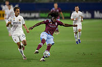 CARSON, CA - SEPTEMBER 19: Lalas Abubakar #6 of the Colorado Rapids comes down with the ball during a game between Colorado Rapids and Los Angeles Galaxy at Dignity Heath Sports Park on September 19, 2020 in Carson, California.