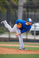 Toronto Blue Jays pitcher Travis Bergen (14) during a Minor League Spring Training game against the Philadelphia Phillies on March 30, 2018 at Carpenter Complex in Clearwater, Florida.  (Mike Janes/Four Seam Images)