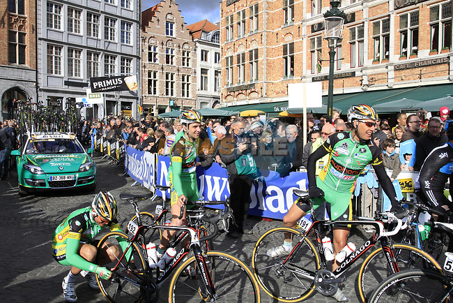 Landbouwkredit-Euphony team riders at sign on before the start of the 96th edition of The Tour of Flanders 2012 in Bruges Market Square, running 256.9km from Bruges to Oudenaarde, Belgium. 1st April 2012. <br /> (Photo by Steven Franzoni/NEWSFILE).