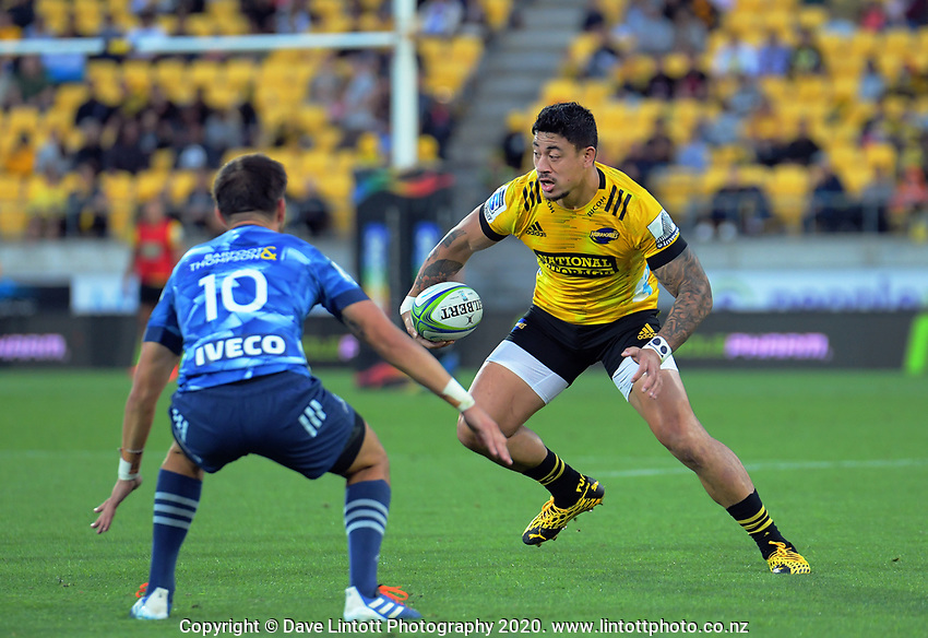 Hurricanes winger Ben Lam in action during the Super Rugby match between the Hurricanes and Blues at Sky Stadium in Wellington, New Zealand on Saturday, 7 March 2020. Photo: Dave Lintott / lintottphoto.co.nz