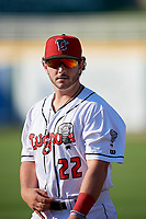 Lansing Lugnuts Ryan Gold (22) before a Midwest League game against the Burlington Bees on July 18, 2019 at Cooley Law School Stadium in Lansing, Michigan.  Lansing defeated Burlington 5-4.  (Mike Janes/Four Seam Images)