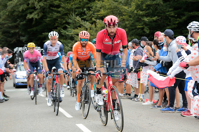 Thomas De Gendt (BEL) Lotto Soudal and Simon Geschke (GER) CCC Team climb Col de Marie Blanque during Stage 9 of Tour de France 2020, running 153km from Pau to Laruns, France. 6th September 2020. <br /> Picture: Colin Flockton   Cyclefile<br /> All photos usage must carry mandatory copyright credit (© Cyclefile   Colin Flockton)
