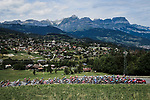 The peloton in action during Stage 5 of Criterium du Dauphine 2020, running 153.5km from Megeve to Megeve, France. 16th August 2020.<br /> Picture: ASO/Alex Broadway | Cyclefile<br /> All photos usage must carry mandatory copyright credit (© Cyclefile | ASO/Alex Broadway)