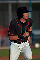 AZL Giants Black Matt Malkin (5) runs to first base during an Arizona League game against the AZL Angels at the Giants Baseball Complex on June 21, 2019 in Scottsdale, Arizona. AZL Angels defeated AZL Giants Black 6-3. (Zachary Lucy/Four Seam Images)