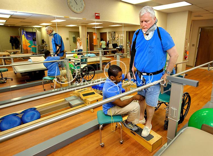 Photography of patients at Carolinas Rehabilitation located on the Carolinas Medical Center Campus in Charlotte, North Carolina.