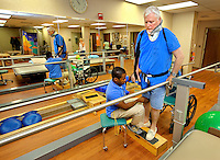 Photography of patients at Carolinas Rehabilitation located on the Carolinas Medical Center Campus in Charlotte, North Carolina.