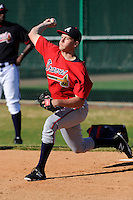 Pitcher Ian Stiffler (81) of the Atlanta Braves farm system in a Minor League Spring Training workout on Monday, March 16, 2015, at the ESPN Wide World of Sports Complex in Lake Buena Vista, Florida. (Tom Priddy/Four Seam Images)