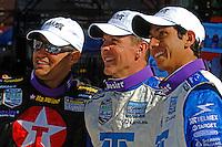 Race winners Juan Pablo Montoya, Scott Pruett and Salvador Duran celebrate in Victory Lane.