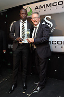 Pictured L-R: Modou Barrow receives an award from Martin Morgan Wednesday 11 May 2016<br /> Re: Awards Dinner 2016, at the Liberty Stadium, south Wales, UK.