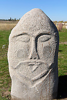 mittelalterlicher Grabstein BalBal bei Tokmok, Kirgistan, Asien<br /> medieval tombstone BalBal near Tokmok, Kirgistan, Asia